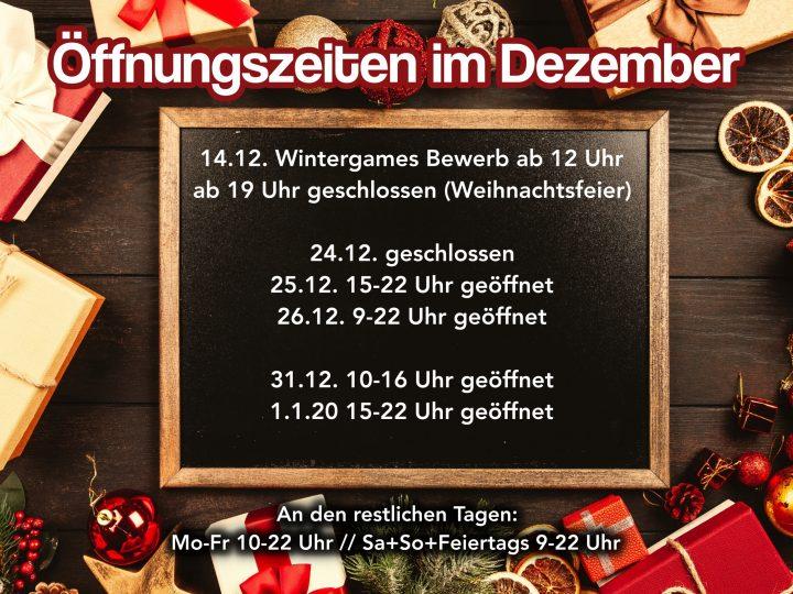 Öffnungszeiten im Dezember