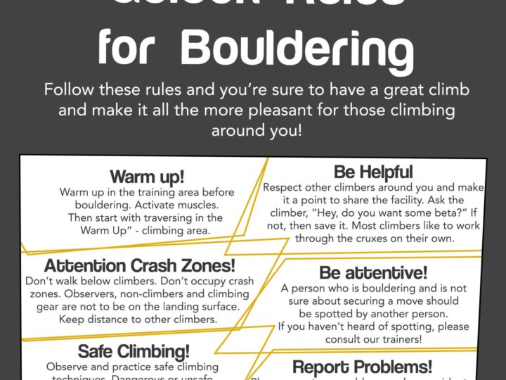 Climbing Gym Rules + Bouldering Rules (English)